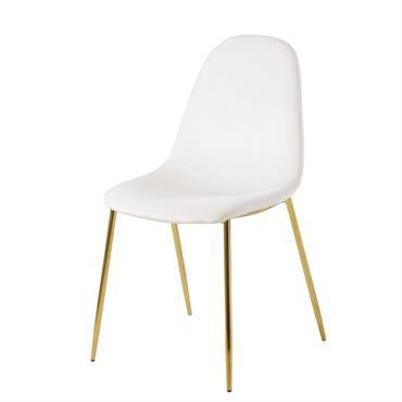Chaise style scandinave en velours blanc et métal doré Clyde
