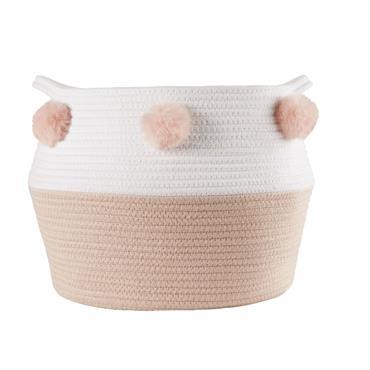 A la recherche d'un objet déco original pour égayer la chambre de votre enfant ? Le panier tressé rose et blanc à pompons LILA se révèlera comme un véritable atout ...