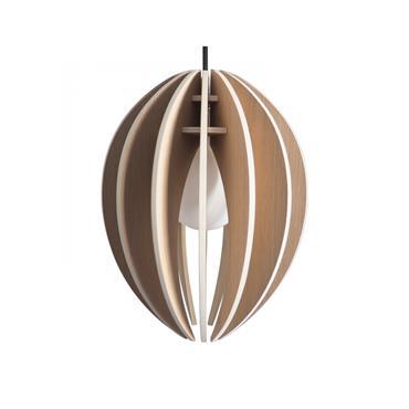 Lampe à suspendre bois cordon noir et ampoule