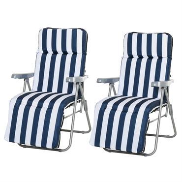 Lot de 2 chaises longues pliables bleu blanc