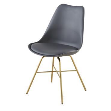 Chaise gris anthracite et pieds en métal chromé doré Wembley