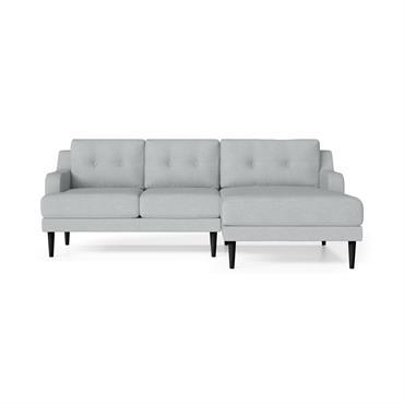 Canapé d'angle droit 4 places toucher lin bleu clair