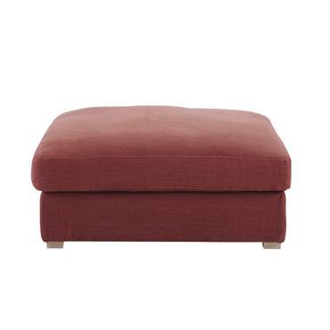 Pouf de canapé modulable en lin lavé terracotta Cesar