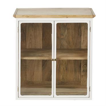 Meuble haut de cuisine en manguier massif blanc 2 portes vitrées L60 Cezanne