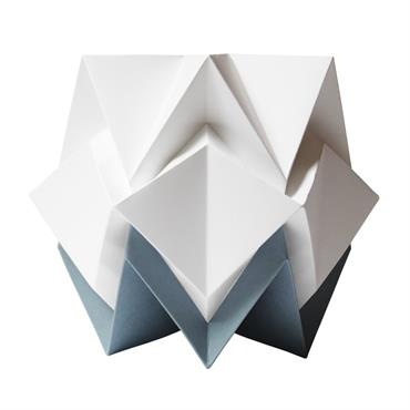 Lampe de table origami bicolore en papier taille M