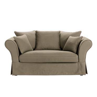 Housse de canapé 2 places en coton taupe Roma