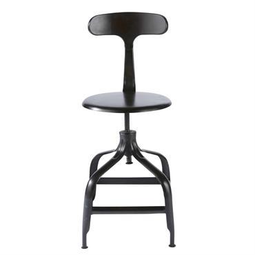 Chaise de bar indus en métal noir Télégraphe