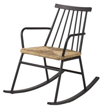 Rocking chair d'extérieur en résine imitation rotin torsadé Tecoma