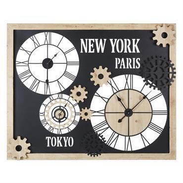 Horloges en métal et sapin à rouages 120x98