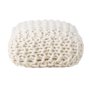 Pouf tricotée en laine écrue 30x60