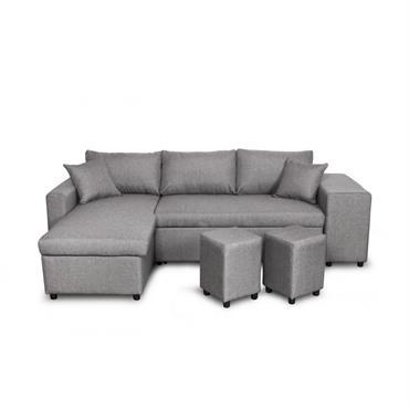 Canapé d'angle convertible gris clair avec rangement poufs à gauche