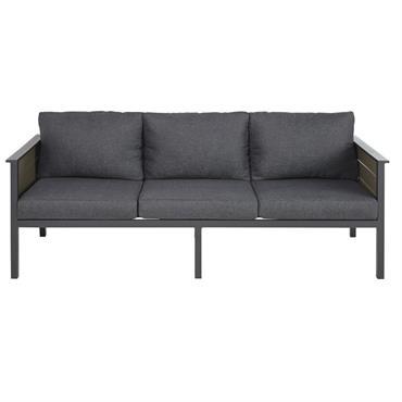 Canapé de jardin 3 places en aluminium gris anthracite Escale