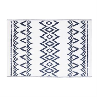 Tapis d'extérieur blanc motifs graphiques bleus 180x270