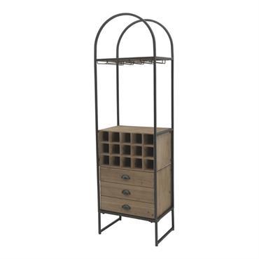 Aucune Livraison en Corse Très jolie colonne armoire à bouteille. Cette colonne est en métal gris anthracite et bois. Ce bar industriel est composé de 3 tiroirs de rangement, d'un ...