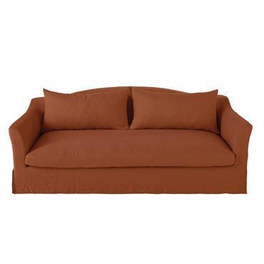 Canapé-lit 3/4 places en lin terracotta Anaelle