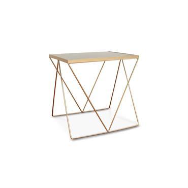 Table d'appoint en métal doré et marbre noir
