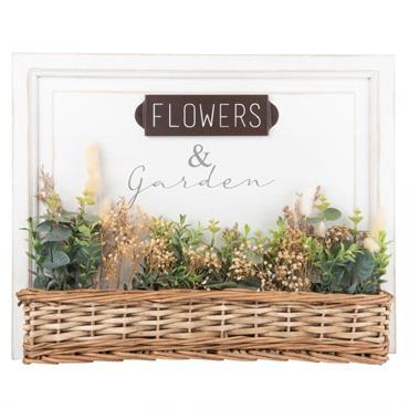 Tableau blanc et jardinière tressée avec plantes artificielles 50x40