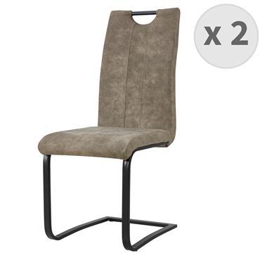 GARDNER-Chaise Microfibre Vintage brun clair pieds métal noir