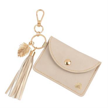 Porte-clés et pochette rose pâle avec pompons