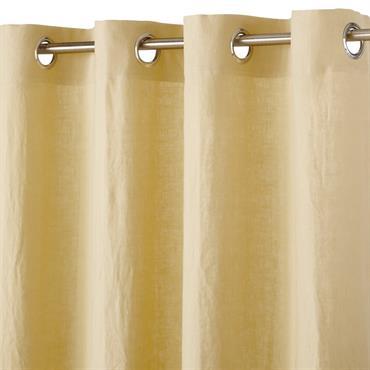 Rideau à illets en lin lavé jaune 130x300