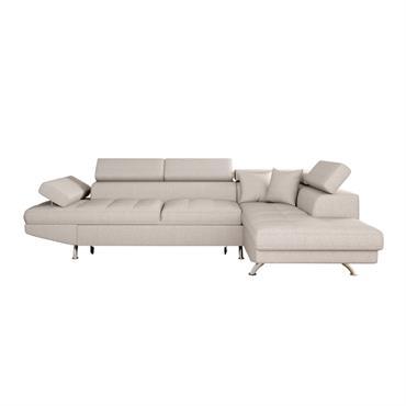 Canapé d'angle droit convertible avec coffre en tissu beige
