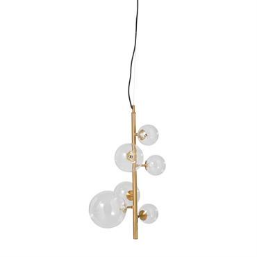Suspension 5 globes en verre et métal doré