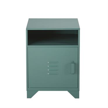 Table de chevet 1 porte en métal vert Safari