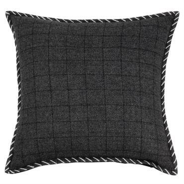 Housse de coussin en coton gris et écru motifs à carreaux 40x40