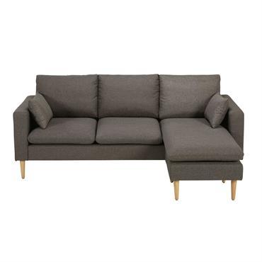 Canapé d'angle modulable 3/4 places gris chiné Joey