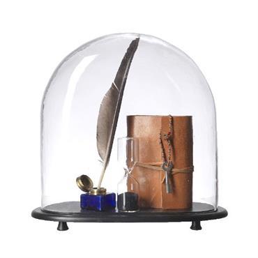 Cloche en verre sur pied, avec socle ou support en bois ou laiton, pour mettre en scène tous les objets ... Domozoom