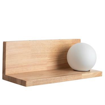 Applique étagère en chêne et globe en verre