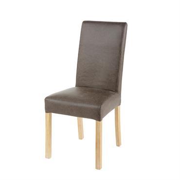 Housse de chaise en microsuède taupe 41x70