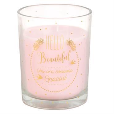 Bougie rose en verre imprimé doré