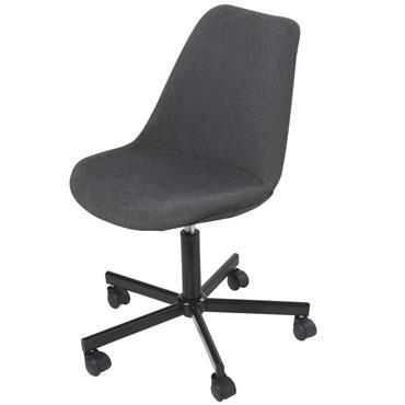 Chaise de bureau réglable à roulettes gris anthracite Boca