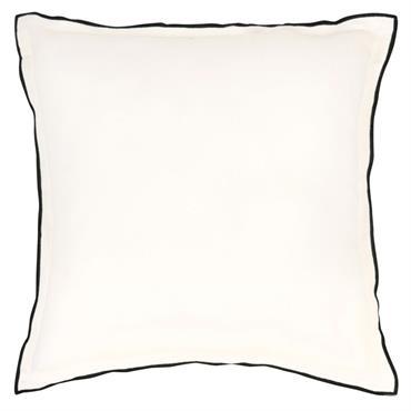 Coussin en lin lavé blanc à bordure noire 50x50