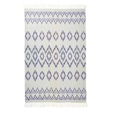 Fouta en coton blanc motifs graphiques bleus 100x200