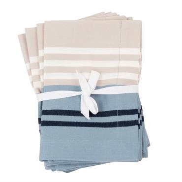 Serviettes en coton motifs à rayures bleues
