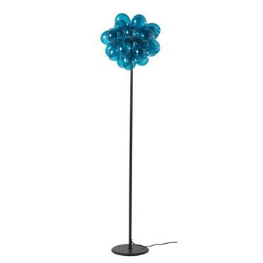 Lampadaire en métal noir et verre teinté bleu H155