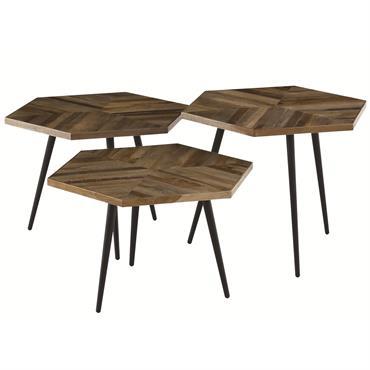 Tables basses hexagonales teck recyclé et métal