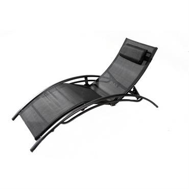 Transat ajustable et empilable avec pieds en acier noir