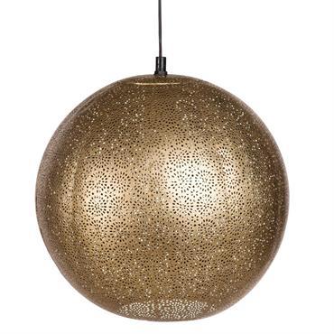 Suspension boule en métal ajouré doré