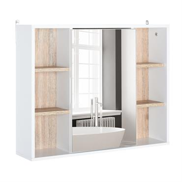 Miroir salle de bain placard étagères blanc chêne clair