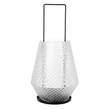 Lanterne en verre teinté ciselé H41