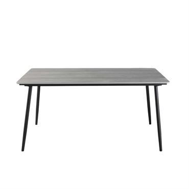 Table de jardin 4/6 personnes en composite et aluminium noir L160 Pemba