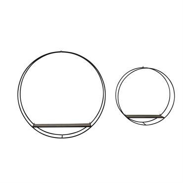 Etagères rondes en métal noir