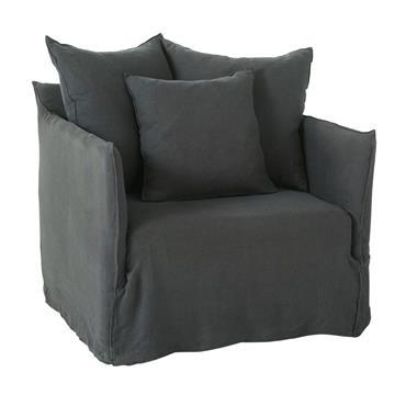 C'est l'heure de faire une pause ? Ça tombe bien : le fauteuil en lin beige SAMSON est équipé d'une assise moelleuse et de trois coussins qui vous assureront un ...