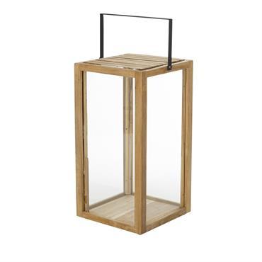 Avec sa ligne cubique et son esprit exotique, la lanterne en teck et métal noir LAMBOK ravira votre salon d'été accompagnant dîners, repas de famille ou détente estivale. En teck ...