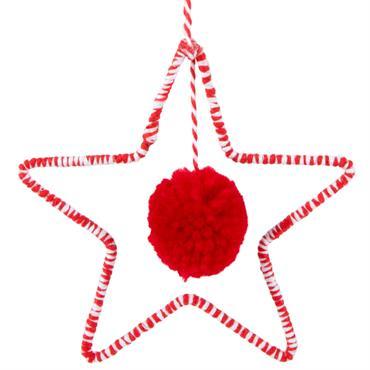 Suspension de Noël étoile en métal blanc et laine rouge