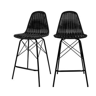 Chaise de bar 63 cm en résine tressé noire