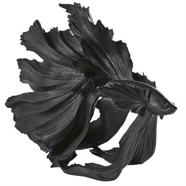 Statue poisson noir mat H56